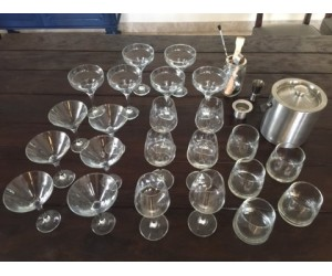 Bar set with Wine, Whiskey & assorted Glasses