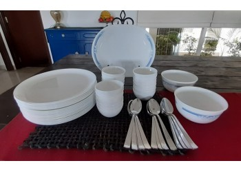 Crockery set by Luminarc, White, Opalware