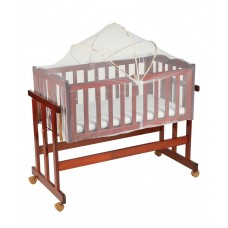 Baby Wooden Cot Crib cum Swing (Large) with Mattress & Mosquito Net