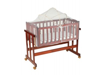 Baby Wooden Cot cum Swing (Large) with Mattress & Mosquito Net