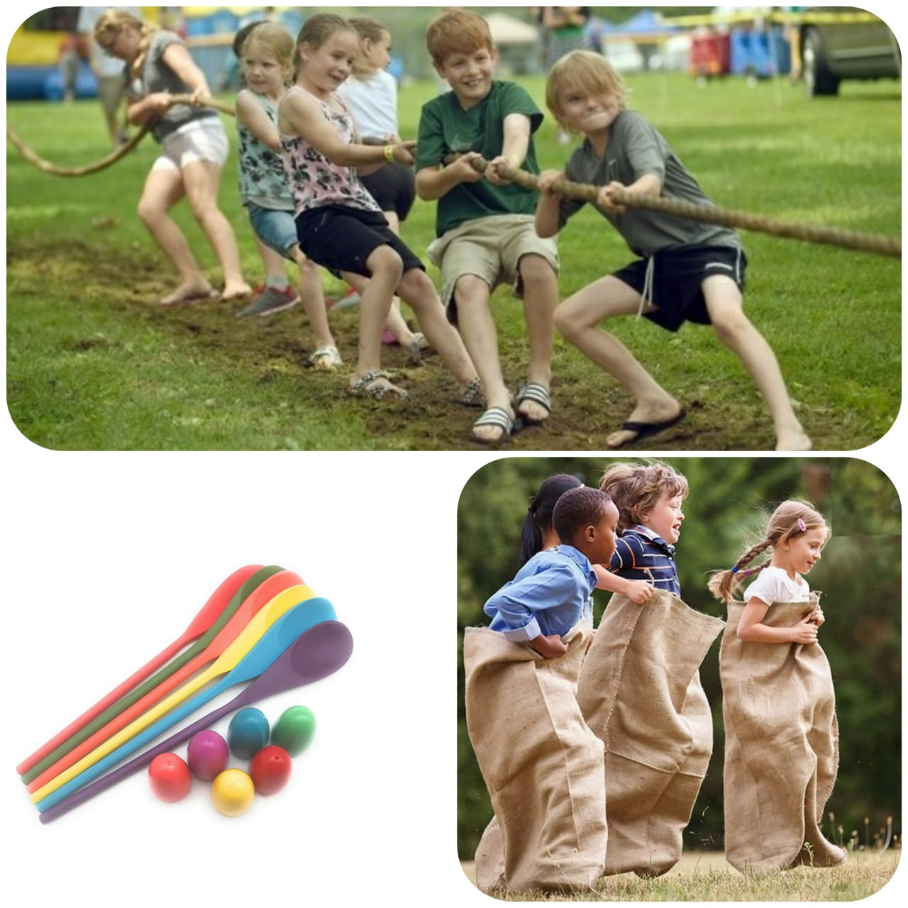 Brithday Party Activities, Tug Of War, Egg & Spoon & Sack