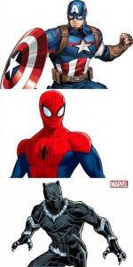 Marvel Avengers Super Hero Costumes: Pack of 3 - Spiderman, Captain America, Black Panther
