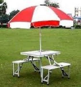 Portable Aluminium Folding Picnic Table & Chairs Set With Umbrella