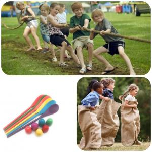 Combo of Tug of War, Sack race, Egg & Spoon game